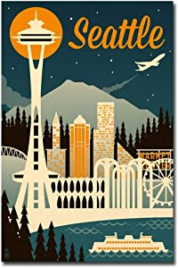 "Seattle, Washington Retro Skyline Travel Refrigerator Magnet Size 2.5"" x 3.7"""