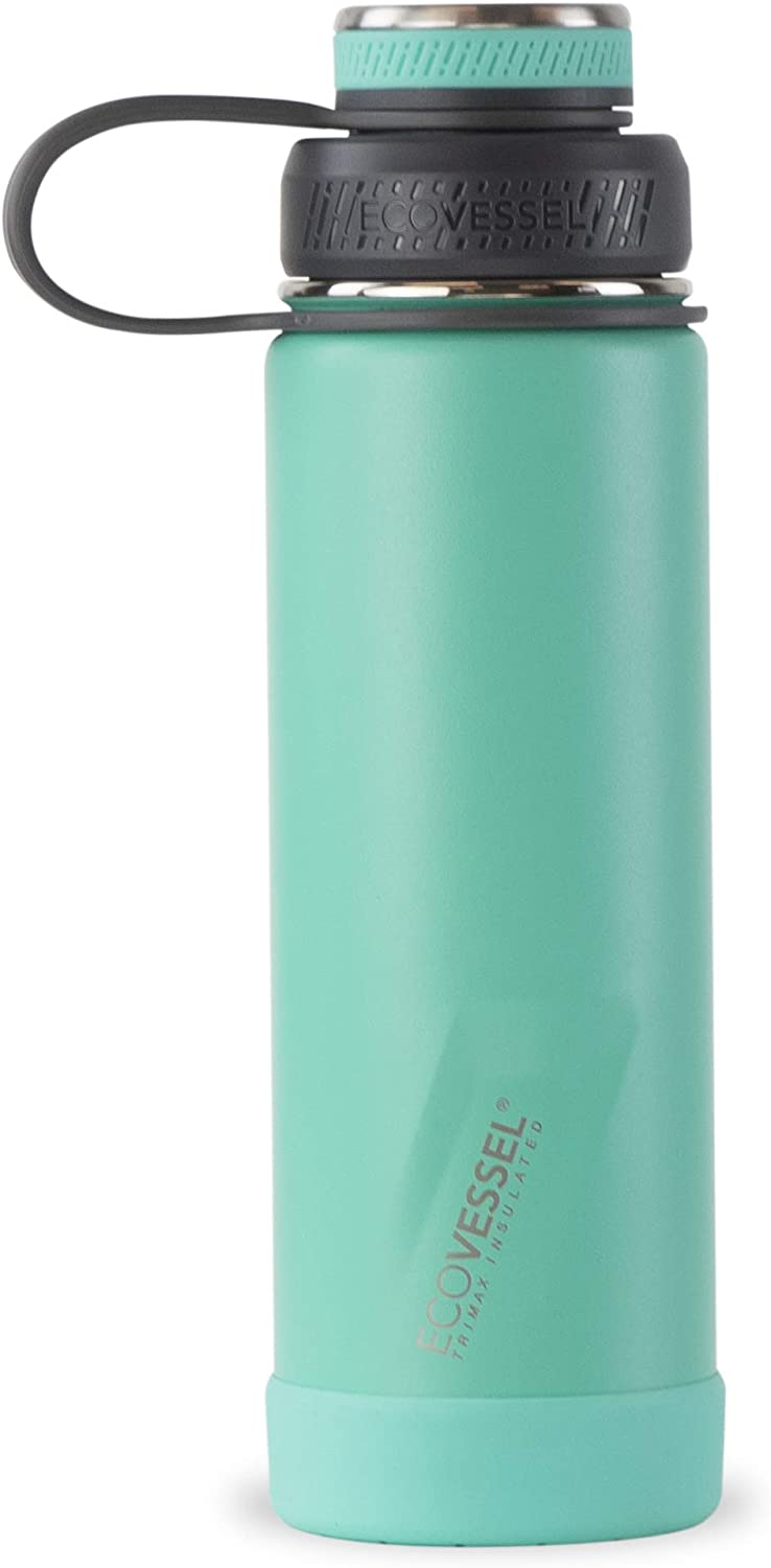 """EcoVessel Insulated Water Bottle for Hot & Cold Up to 60 Hrs Drink Thermos – Trimax """"Boulder"""" Aqua Stainless Steel Bottle w/Wide Mouth Vacuum Tea Fruit Strainer (Triple Insulated 20oz Water Bottle)"""
