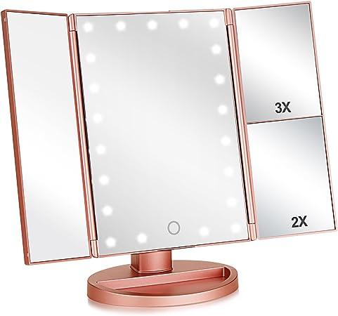 Flymiro Tri-fold Lighted Vanity Makeup Mirror