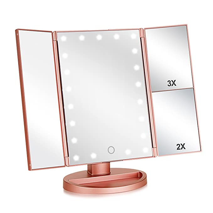 Tri-fold Lighted Vanity Makeup Mirror with 3x/2x/1x Magnification, 21Leds Light and Touch Screen,180 Degree Free Rotation Countertop Cosmetic Mirror,Travel Makeup Mirror (Rose Gold)