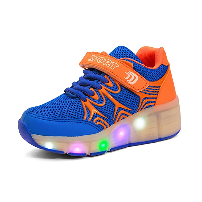 Sollomensi LED Luz Niños Zapatos con Ruedas Zapatillas de Skate Automática de párrafos Sola Ronda Para niñas-Azul 29: Amazon.es: Ropa y accesorios