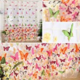 Pannow 78.7 x 39inch Sheer Voile Butterfly Pattern Shade Curtain Panels, Offset Print Tulle Window Door Drape Curtain for Bedroom Living Room Balcony Coffee House (2 Panels)