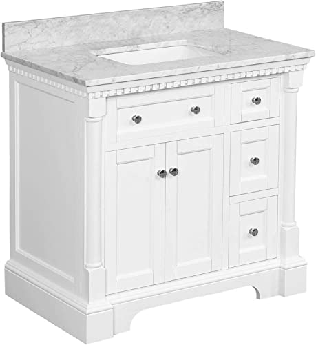 Sydney 36-inch Bathroom Vanity Carrara/White : Includes White Cabinet