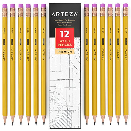ARTEZA #2 HB Wood Cased Graphite Pencils, Pack of 12, Bulk, Pre-Sharpened with Latex Free Erasers, Bulk pack, Smooth write for Exams, School, Office, Drawing and Sketching