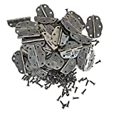 PGMJ 40 Pieces Of 6 Hole Antique Hinge Bronze Engraving Design Printing Small Hinge Wooden Box Gift Box Hinges Cabinet Drawer Jewelry Box And 240 Screws