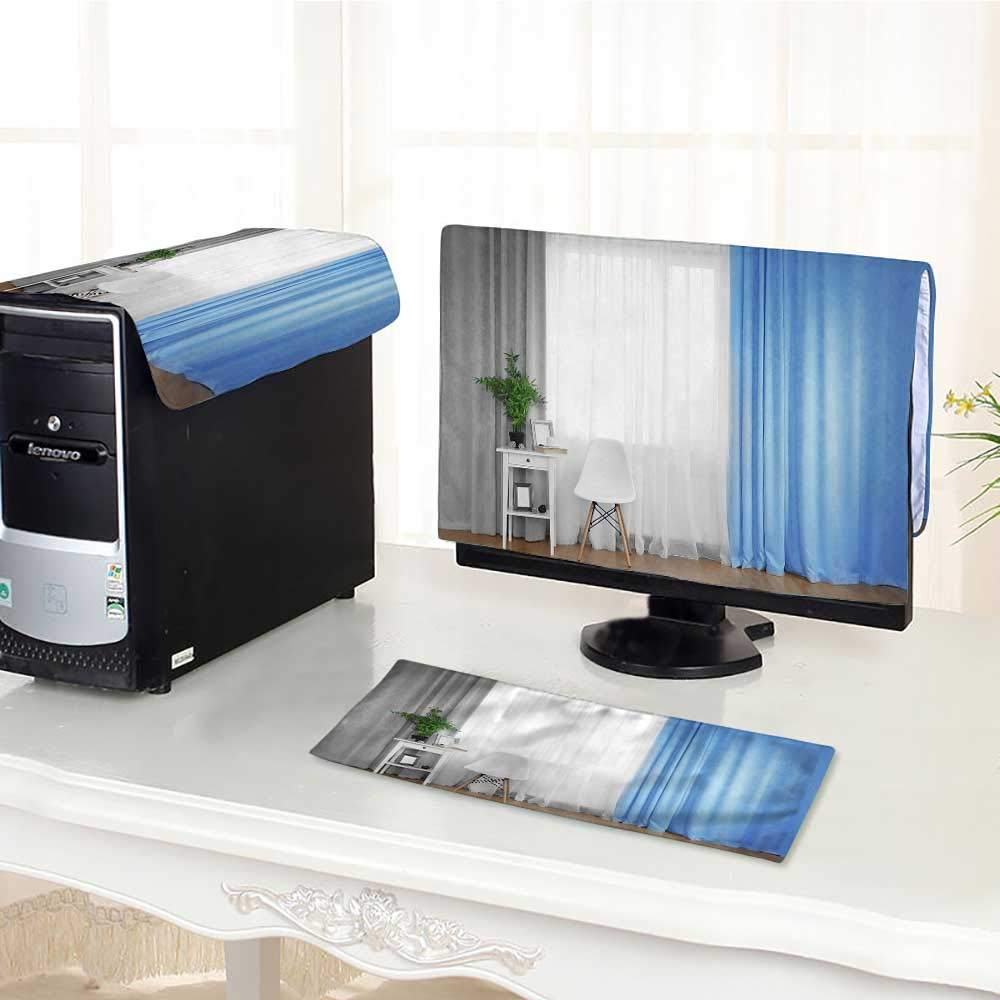 """UHOO2018 Computer Monitor Dust Cover 3 Pieces smwhite Table with Green Plant and Chair on Curtain Background Antistatic, Water Resistant /27"""""""
