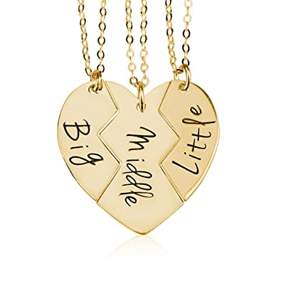 963a19560e BFF Necklace Best Friends Name Necklace Couple's Breakable Heart Pendant -  Personalize Any Three Names (40): Amazon.co.uk: Jewellery