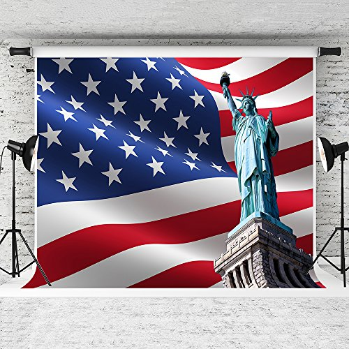 Kate 7x5ft 3D USA Flag Photography Backdrops Statue of Liber