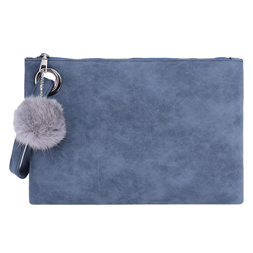 Women Hairball Solid Color Leather Zipper Coin Purse Bag Clutch Bag Phone Bag