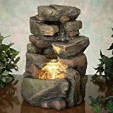 water and rock fountain - Bits and Pieces - 11.25 Inch Indoor Tiered Rock Fountain with LED - Zen Tabletop Water Fountain - Illuminated Relaxation Fountain