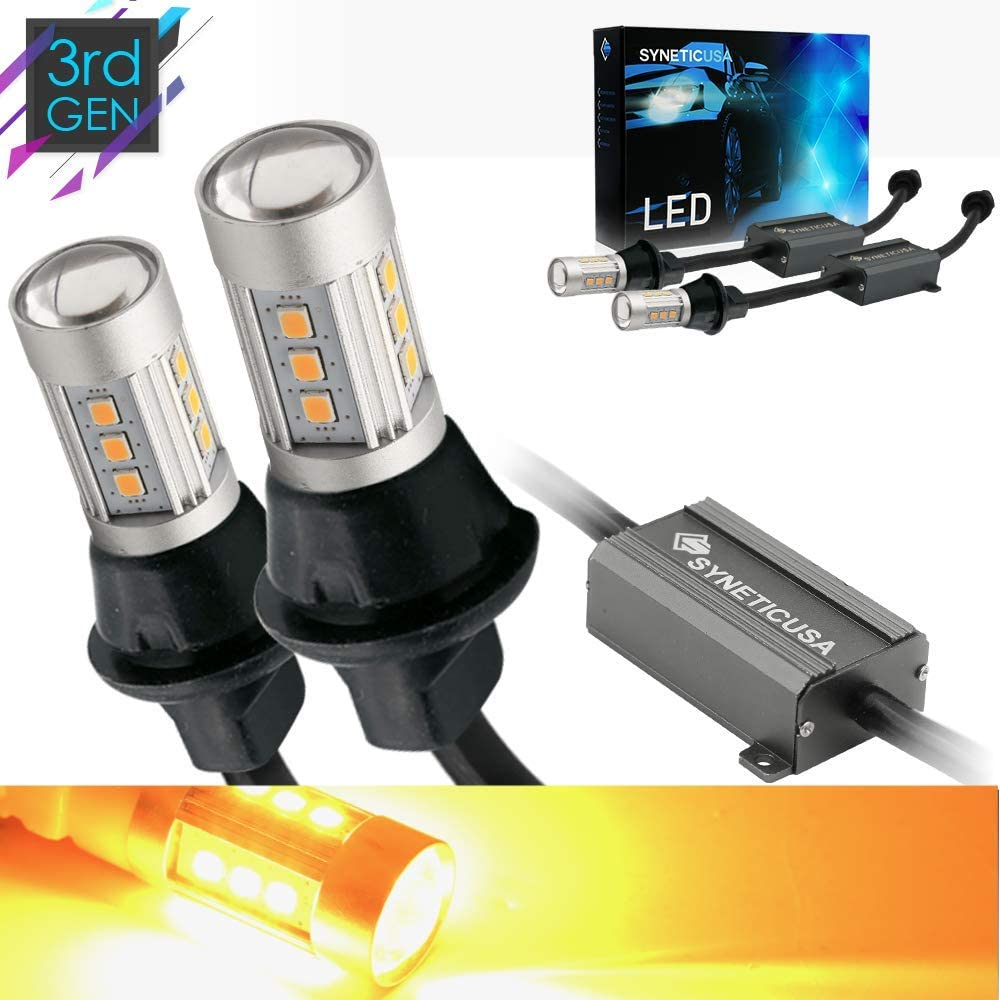 Syneticusa 3157 Error Free Canbus Ready Yellow/Amber LED Front/Rear Turn Signal Light Bulbs DRL Parking Lamp No Hyper Flash All in One
