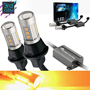 Syneticusa 1157 Error Free Canbus Ready Yellow/Amber LED Front/Rear Turn Signal Light Bulbs DRL Parking Lamp No Hyper Flash All in One