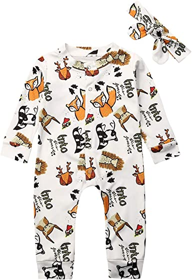 NWT Baby Girls Fox White Long Sleeve Romper Jumpsuit Headband Outfit Set