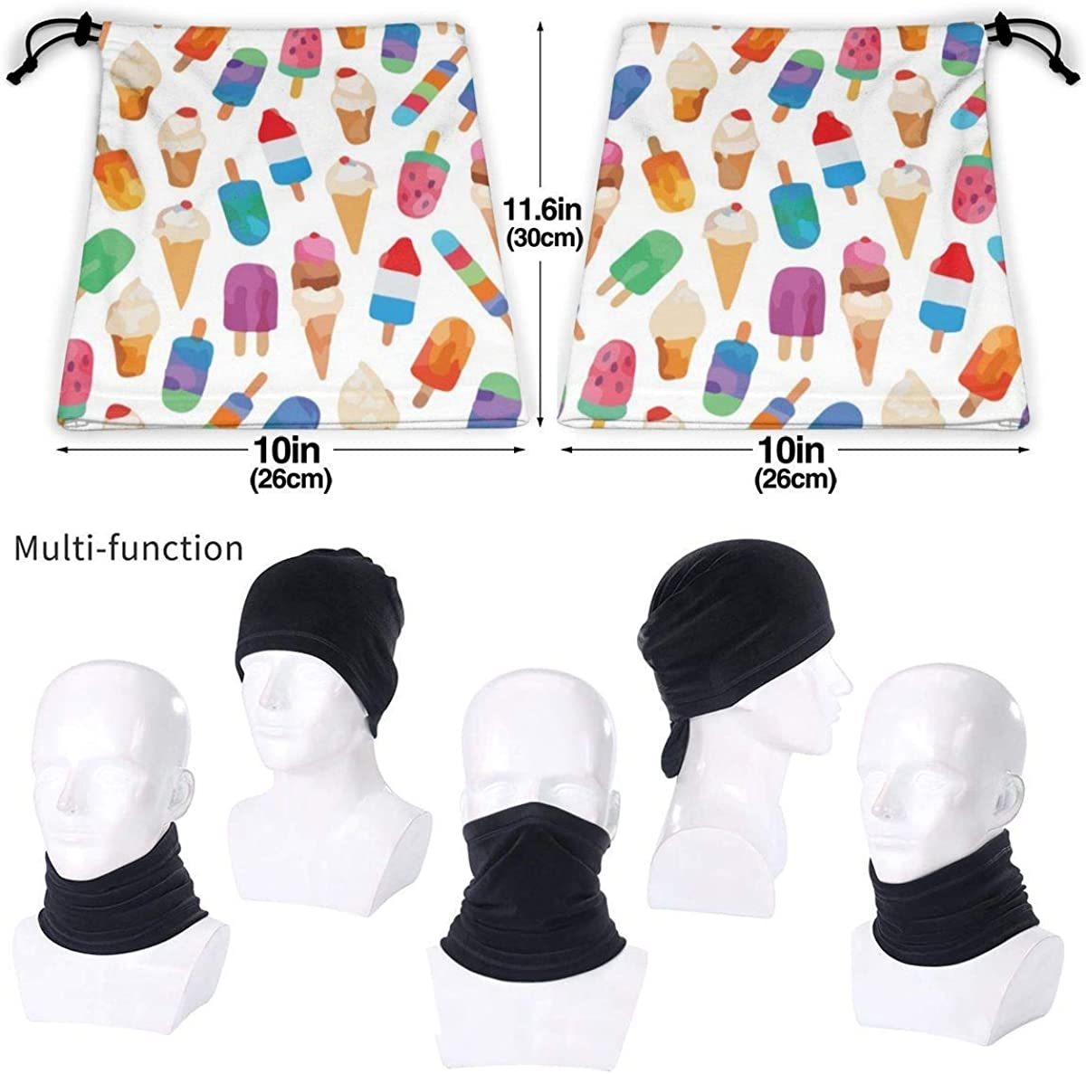 Microfiber Neck Warmer Watercolor Summer Ice Creams Neck Gaiter Tube Ear Warmer Headband Scarf Face Mask Balaclava