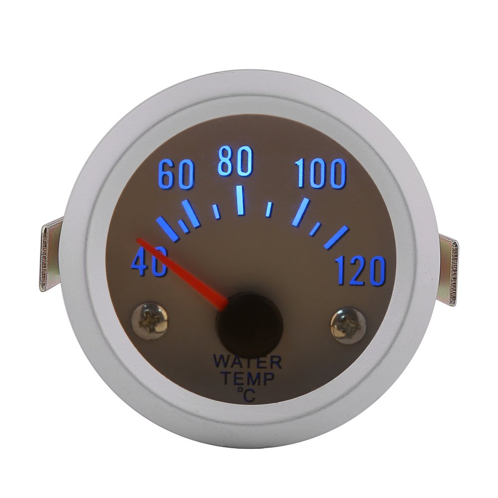 Qiilu Universal Car Motor Digital Water Temp Temperature Gauge 52mm 2'' Blue LED 40-120℃ Range