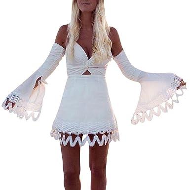 Damark(TM)))) Vestidos Mujer Casual Vestido de Verano Largo Maxi Falda Mujer Elegante Boda Playa Fiesta Noche Mujer Boho Vestido de Noche Maxi Playa ...