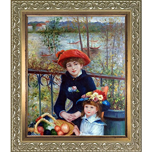 (overstockArt La Pastiche Two Sisters On The Terrace, by Renoir Hand Painted Oil with Rococo Silver and Burnished Gold Stacked Frames)