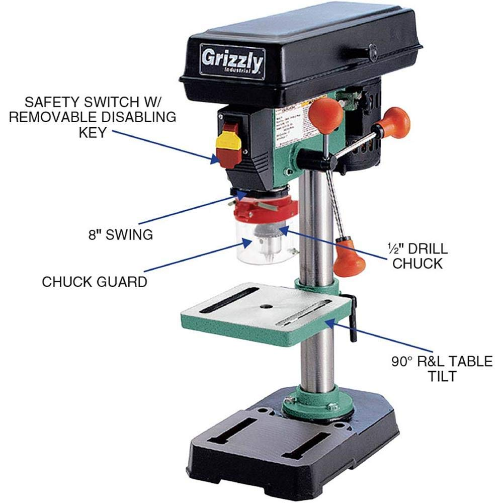 Drill Press Guard >> Grizzly Industrial G7942 8 Baby Benchtop Drill Press