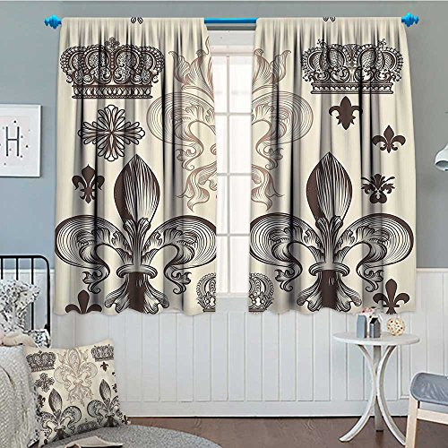 (SeptSonne-Home Fleur De Lis Decor Collection Window Curtain Fabric Heraldic Pattern with Fleur De Lis and Crowns Tiara Iris Flowers Coat of Arms Knight Drapes for Living Room 72