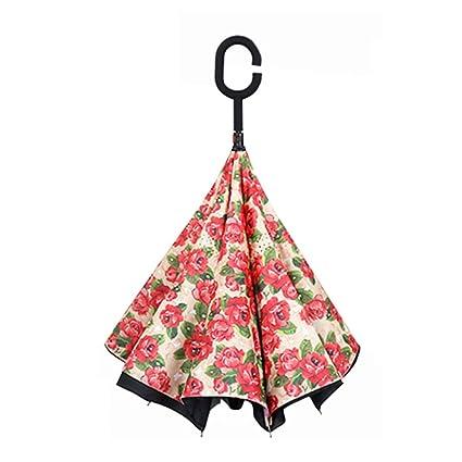 GAOYANG Paraguas Invertido Paraguas Invertido Doble Hombres Y Mujeres Paraguas Recto A Prueba De Viento Paraguas