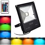 Foco exterior RGB de decoración Impermeable, Proyector Decorativo, foco de fiesta regulable, 16 colores y 4 modos, Funciona con control remoto, IP66, 50W 86-265V, Sin Enchufe