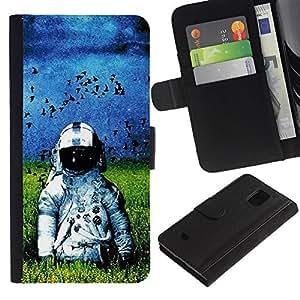 NEECELL GIFT forCITY // Billetera de cuero Caso Cubierta de protección Carcasa / Leather Wallet Case for Samsung Galaxy S5 Mini, SM-G800 // Oldschool Astronauta en el Campo