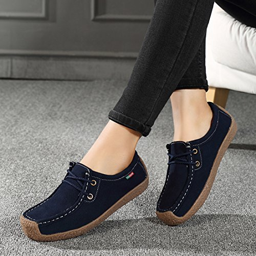 Top up Moccasins SUO Low Z Shoes Lace Suede Blue Platform Women Comfort Driving Loafers 4ZUUyvKc