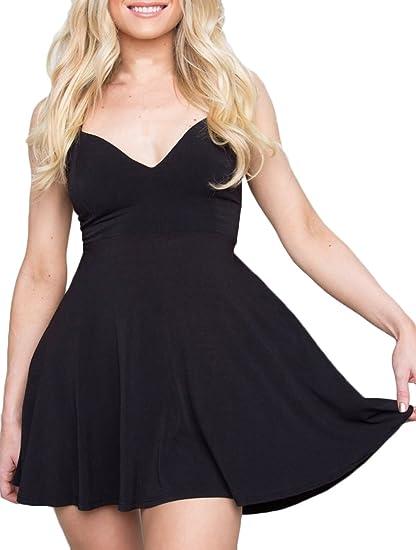 Saoye Fashion Vestidos De Fiesta Cortos De Mujer Verano Elegantes Juveniles Sin Mangas V Cuello Una Línea Negro Vestido De Cóctel Vestir De Tirantes Casual ...