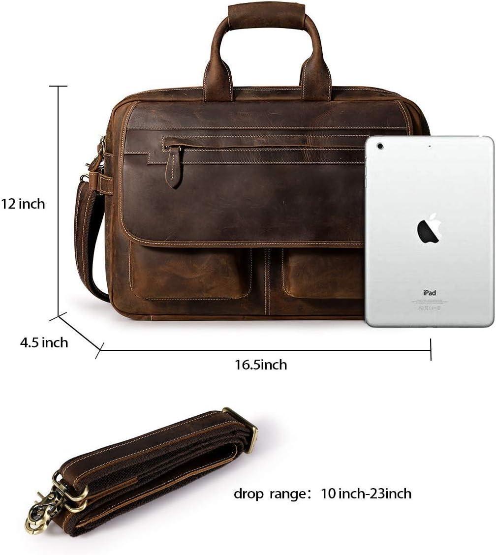 S-ZONE Sac Hommes Porte-Documents en Cuir pour Ordinateur Portable 16 Pouces Sac /à Main Messenger Sac /à Bandouli/ère