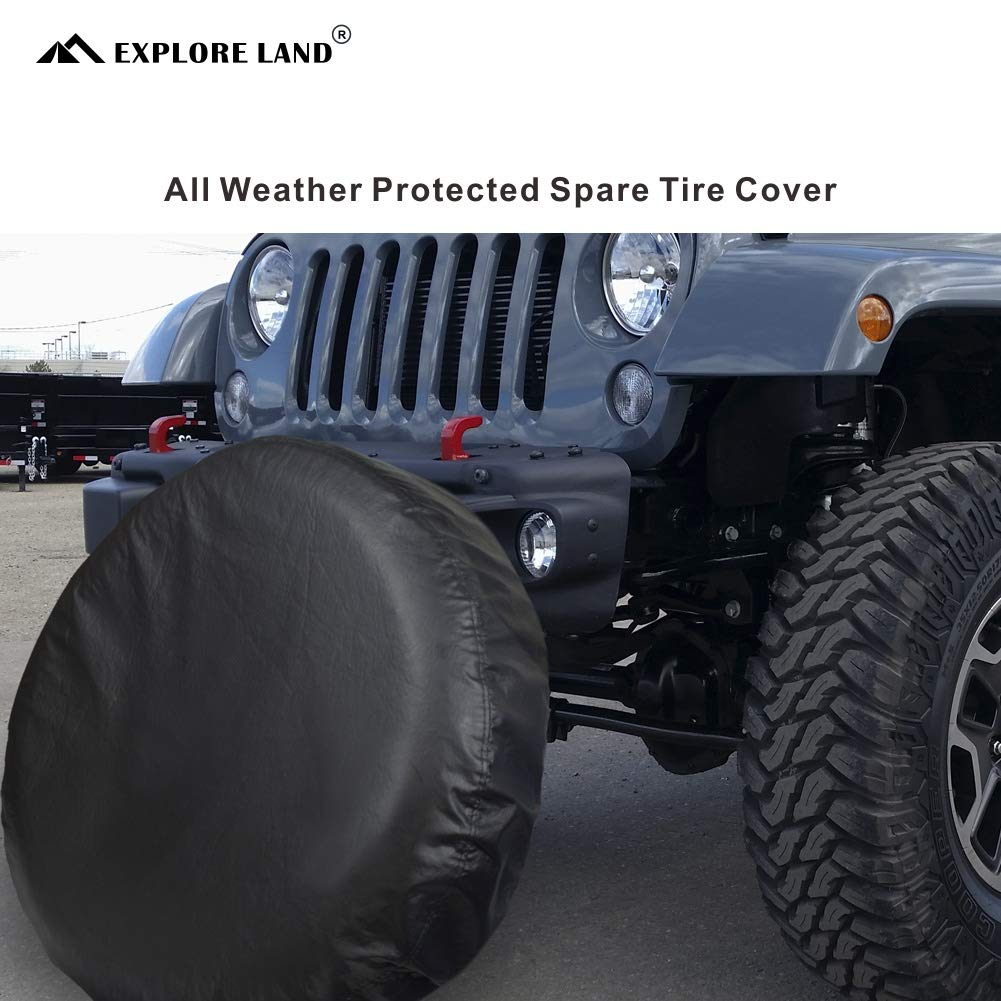 Tough Vinyl Tire Wheel Soft Cover Explore Land 22-23.75 inch Spare Tire Cover Fit Jeep Fits Entire Wheel size 22-23.75 inch Black Trailer RV SUV Truck