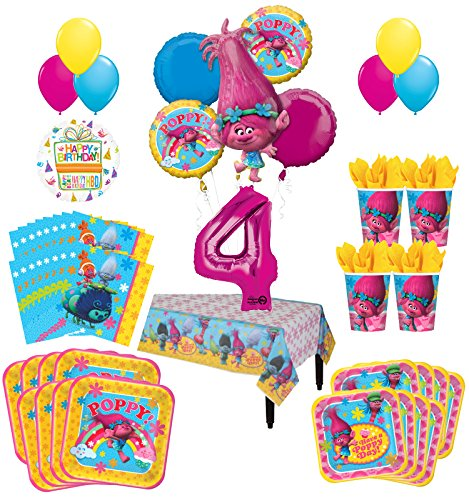 (Trolls Poppy 4th Birthday Party Supplies 8 Guest Kit and Balloon Bouquet)