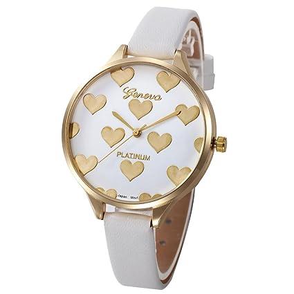 Xinantime Relojes Mujer,Xinan Reloj de Pulsera Analógico de Cuarzo Cuero Imitación (Blanco)