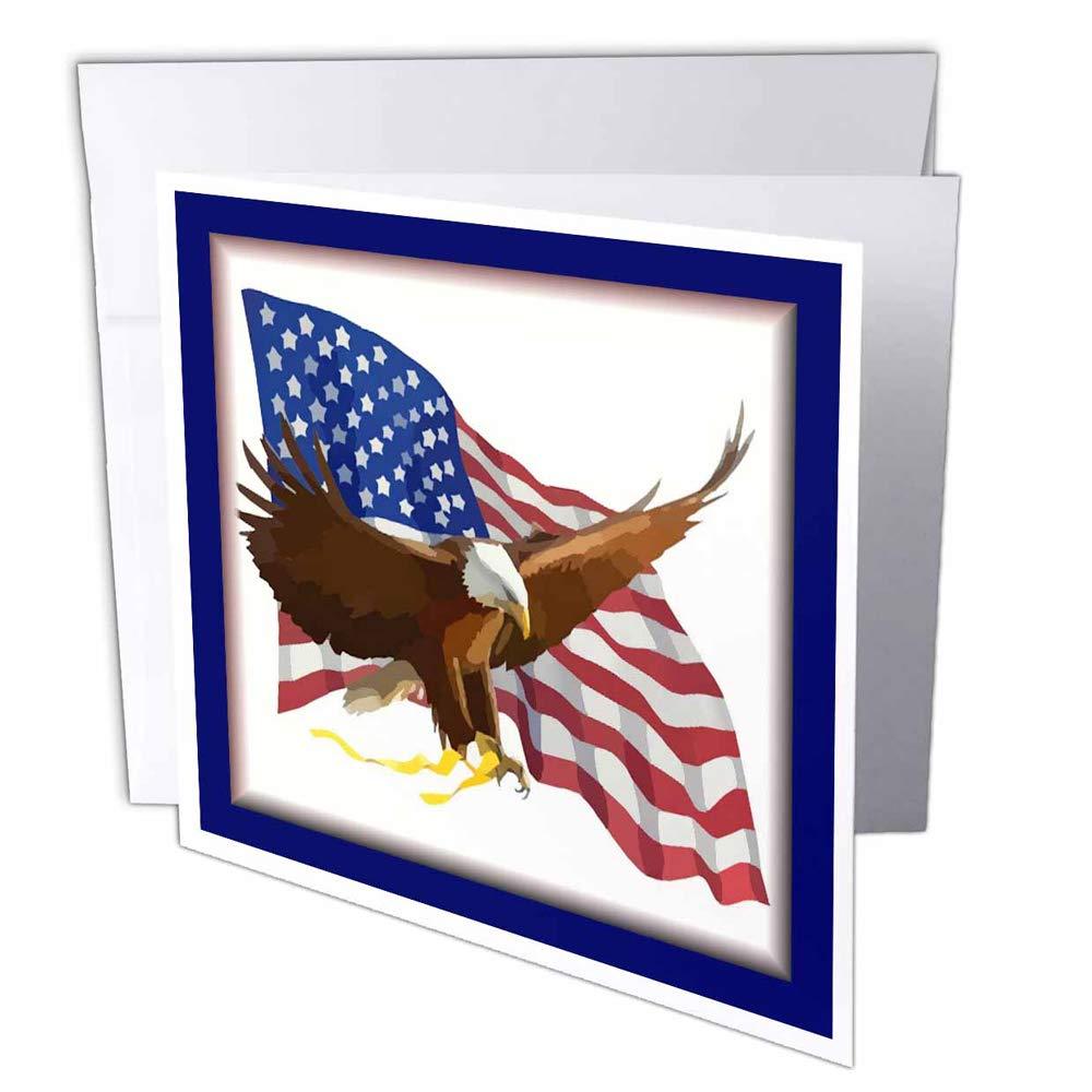 3dRosa 3dRosa 3dRosa gc_21941_1 Grußkarte Adler mit Flagge , 15,2 x 15,2 cm, 6 Stück B07BJC142Y | Moderne Muster  e40ddb