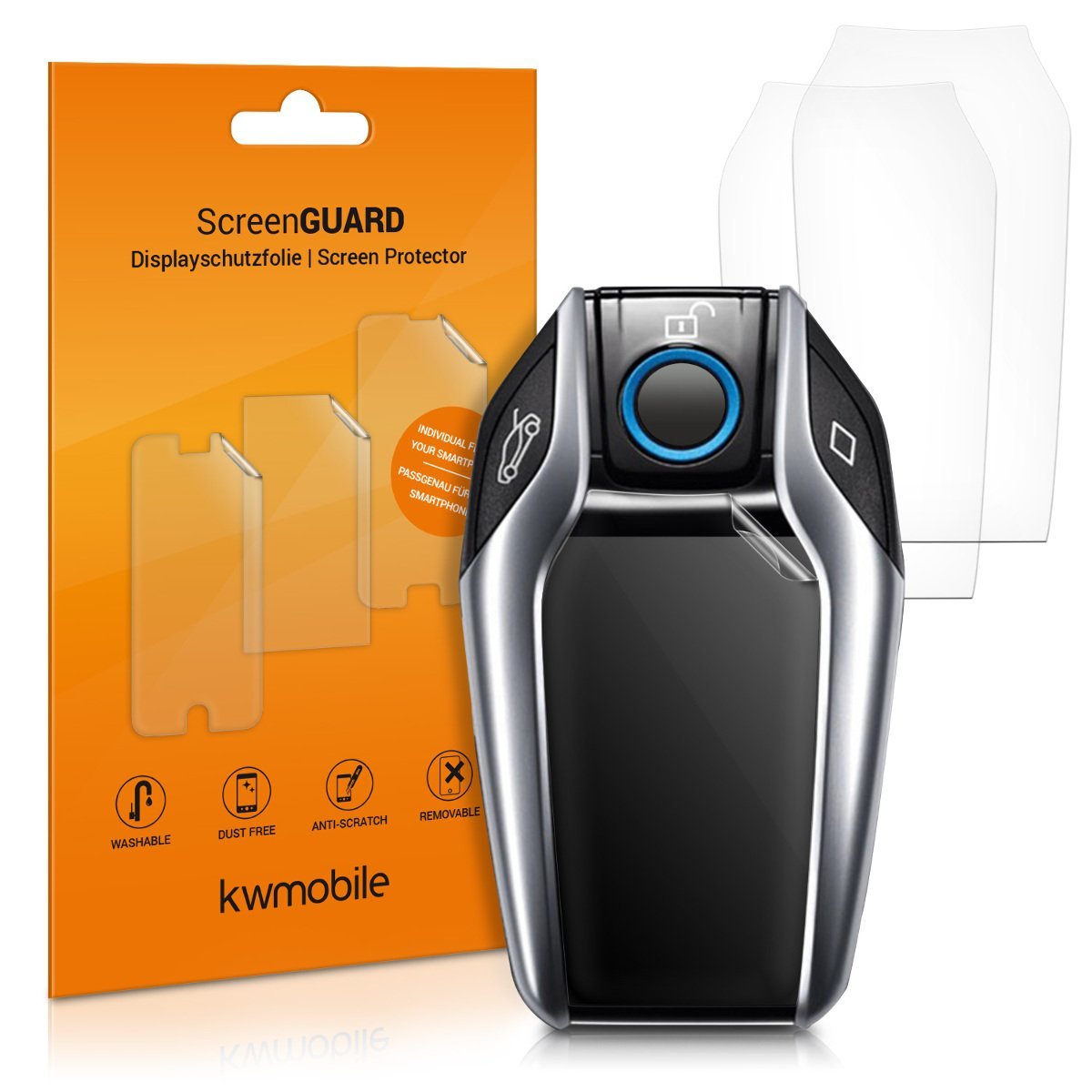 kwmobile Set of 3 Display Guards Compatible with BMW Display Car Key - Clear TPU Protective Display Films for Car Keys