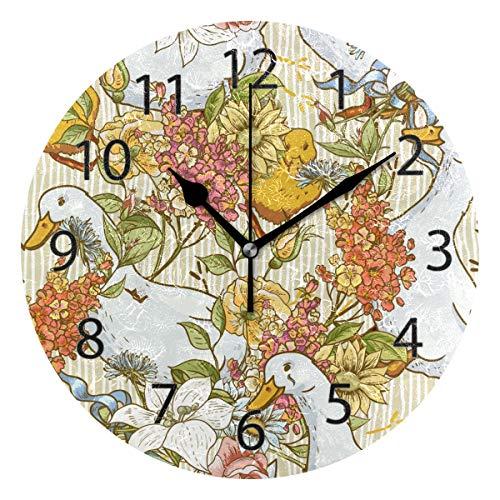 XiangHeFu Wall Clock,Round 10 Inch Diameter Silent Animal Seamless Cute Duck Flower Decorative for Home Office School