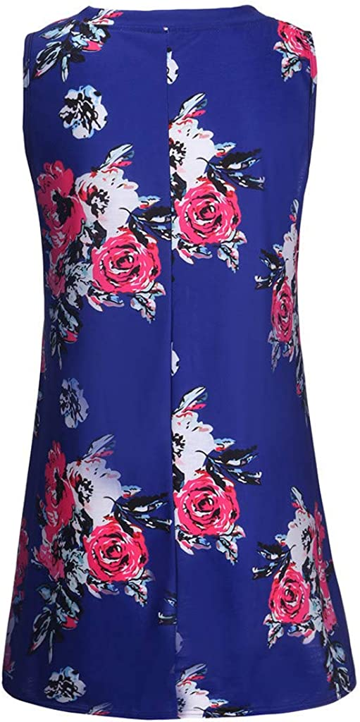 Womens Summer Flowy Sleeveless Tunic Swing Shirts Casual Comfy V-Neck Floral Print Tank Tops