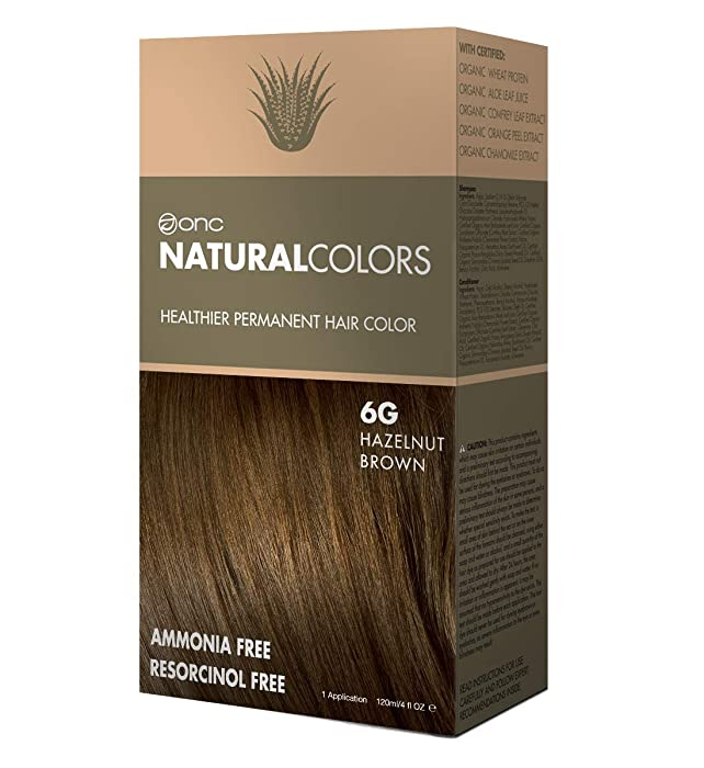 ONC NATURALCOLORS (6G Hazelnut Brown) 4 fl. oz. (120 mL) Healthier Permanent Hair Dye with Certified Organic Ingredients, Ammonia Free, Vegan Friendly, 100% Gray Coverage