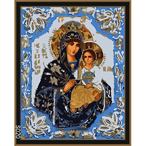 Oil Painting - Frameless Virgin Mary Holding Jesus Icon Oil Painting By Numbers Diy Digital Pictures Coloring - Beginners Canvasses Europe Beginner Monet's Exercises Secrets Linda Lights Harold (Icon Unframed)