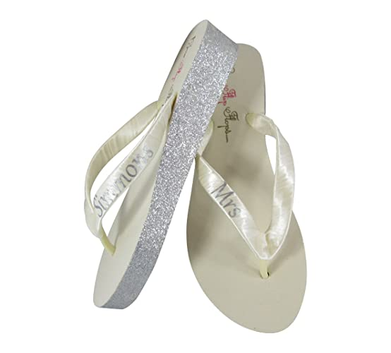e9fd91c839e5f Image Unavailable. Image not available for. Color  Wedding Flip Flops -  Handmade Custom Mrs new Last Name ...