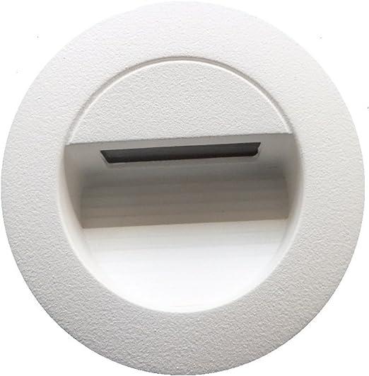 Iluminación de 1,2 W LED para empotrar en pared caja blanca para interior y exterior stiege lámpara Escaleras Luz Redondo. ledmich©: Amazon.es: Iluminación