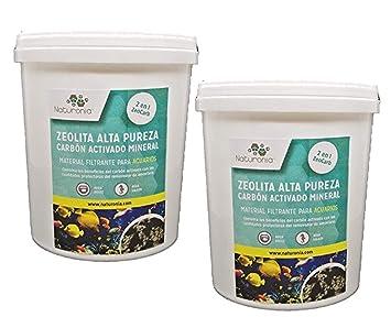 Naturonia 2 en 1 Zeolita+ Carbón Activado para acuarios y estanques Lote 2X 1L (1400g): Amazon.es: Productos para mascotas