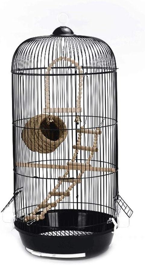 xilinshop Canarios Jaula Mascota Cúpula Redonda clásico Pájaro Enjaulado Periquito Pájaro Salvaje Gorrión Pájaro Canario Pájaro Altura 74 cm (Negro) Jaulas para Loros