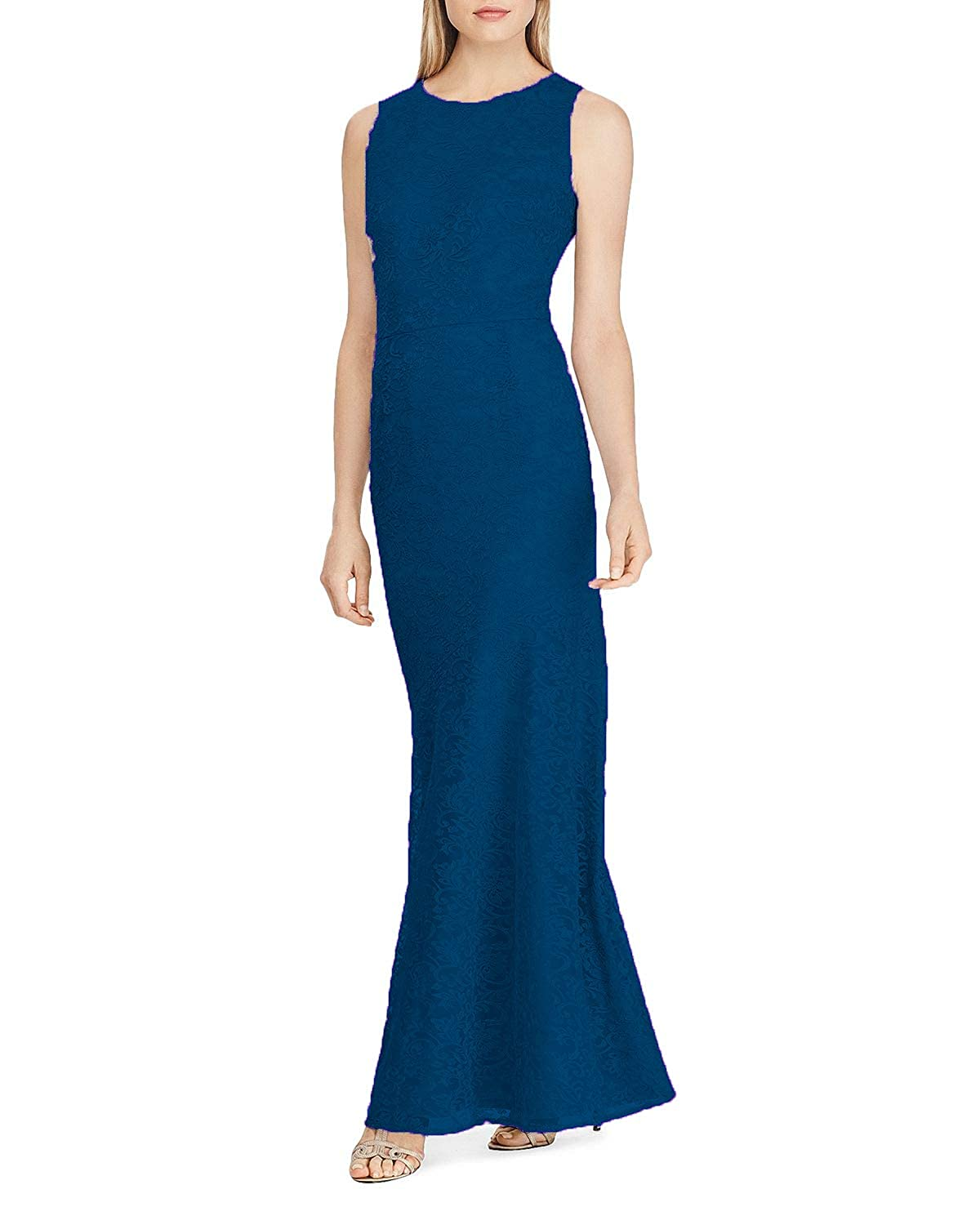 bluee Wanshaqin Women's Embroidered Mesh Gown for Evening Party Sexy Bias Cut Formal Wedding Bridesmaid Dress