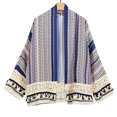 Fiesta Elegante Casual Ligera Cubrir de Hiroo la Azul Costura de Chaqueta Playa Diaria túnica Ligera chaquetas Grande de la Arriba de para quimono Rayada Punto 7wqv0wHAx