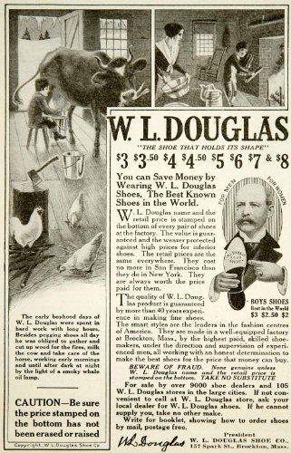 Spark Footwear (1917 Ad W. L. Douglas Shoe Farm Boy Milking Cow Firewood Footwear 157 Spark St. - Original Print Ad)