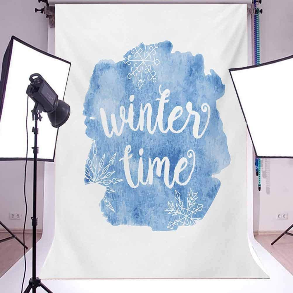 10x15 FT Backdrop Photographers,Winter Time Typographic Design Hand Drawn Style Phrase Blue Watercolor Spot Background for Baby Shower Birthday Wedding Bridal Shower Party Decoration Photo Studio