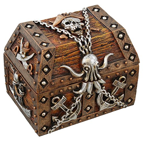 Pirate Chest Octopus / Skull & Crossbones Trinket Storage Mini Jewelry Box with Anchor, Chain, Sword and Ship Accents (Gifts Kraken)