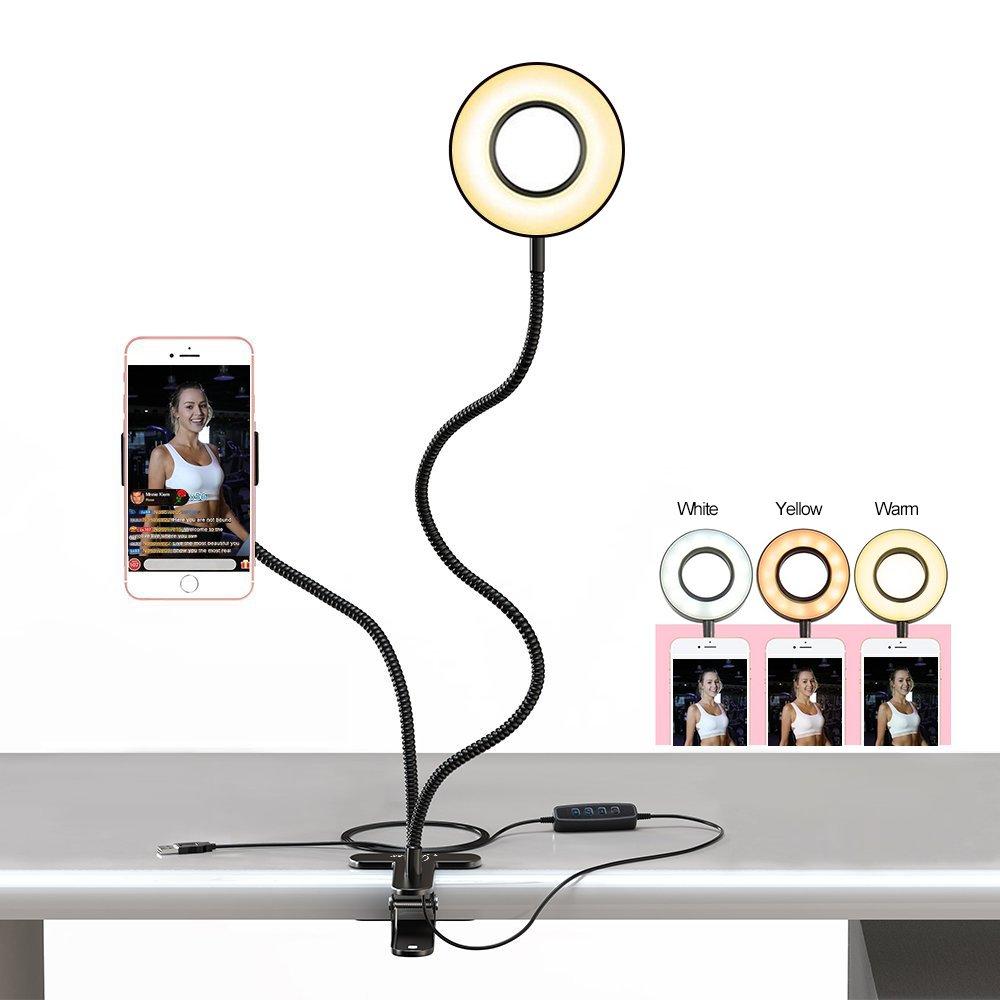 Inncen Cell Phone Holder with Selfie Ring Light for Livestream Lighting, Fill-in Light for Live, Beauty Light Ring for Phone, Flexible Gooseneck Phone Holder Lazy Bracket Desk Lamp (Black)