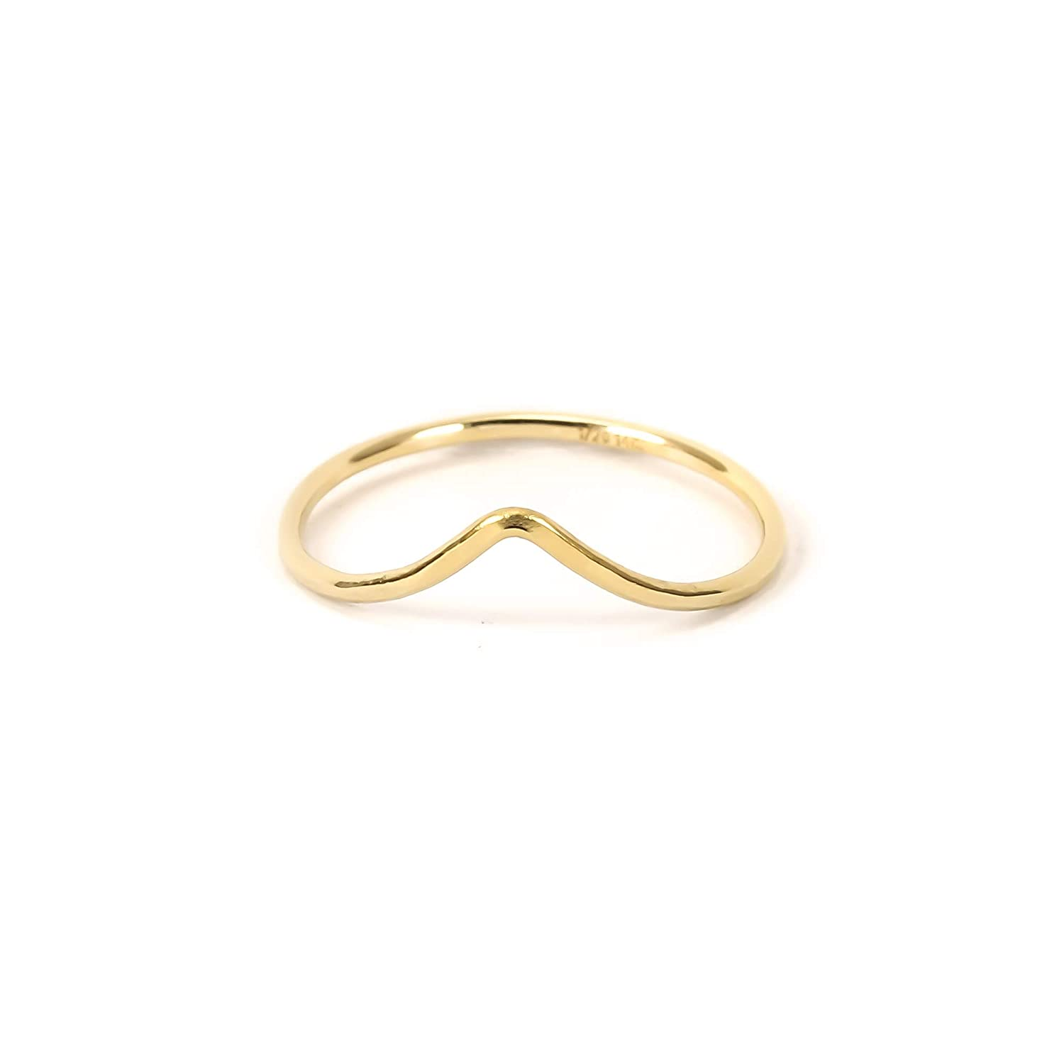 Hammered Chevron Ring in size 6 Handmade Pointed Thin Gold Band for Women Gold Filled Skinny Stacking Ring