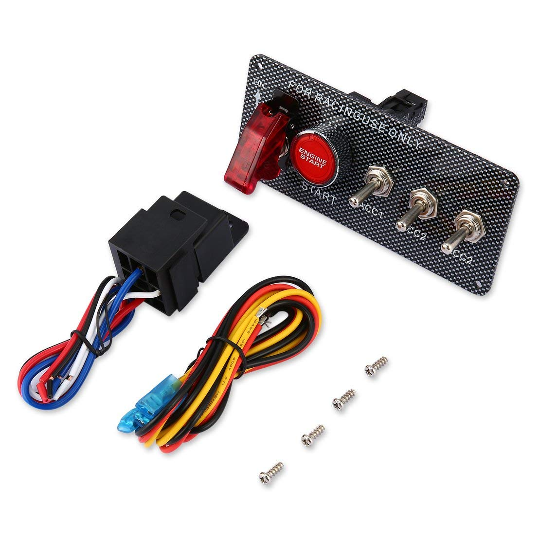 Universal Ignition Switch Engine Start Push Button Racing Car 3 Toggle Panel 12V Professional RC Switch for Car Modification - black Sanzhileg